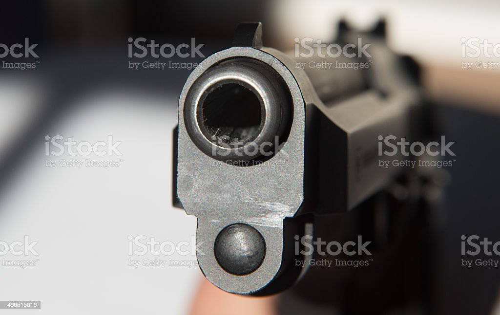 Pistol muzzle stock photo