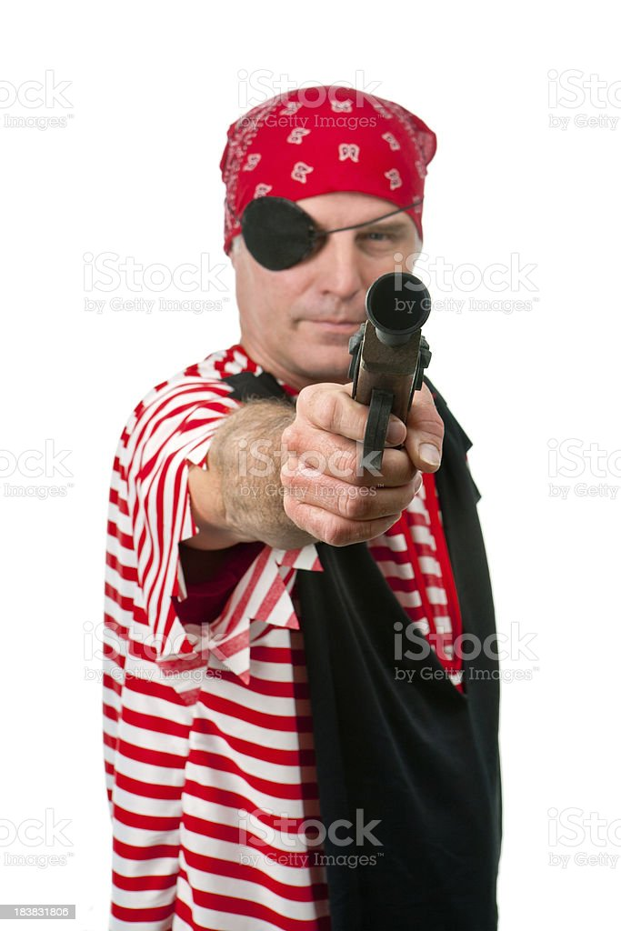 pistol pointing pirate royalty-free stock photo