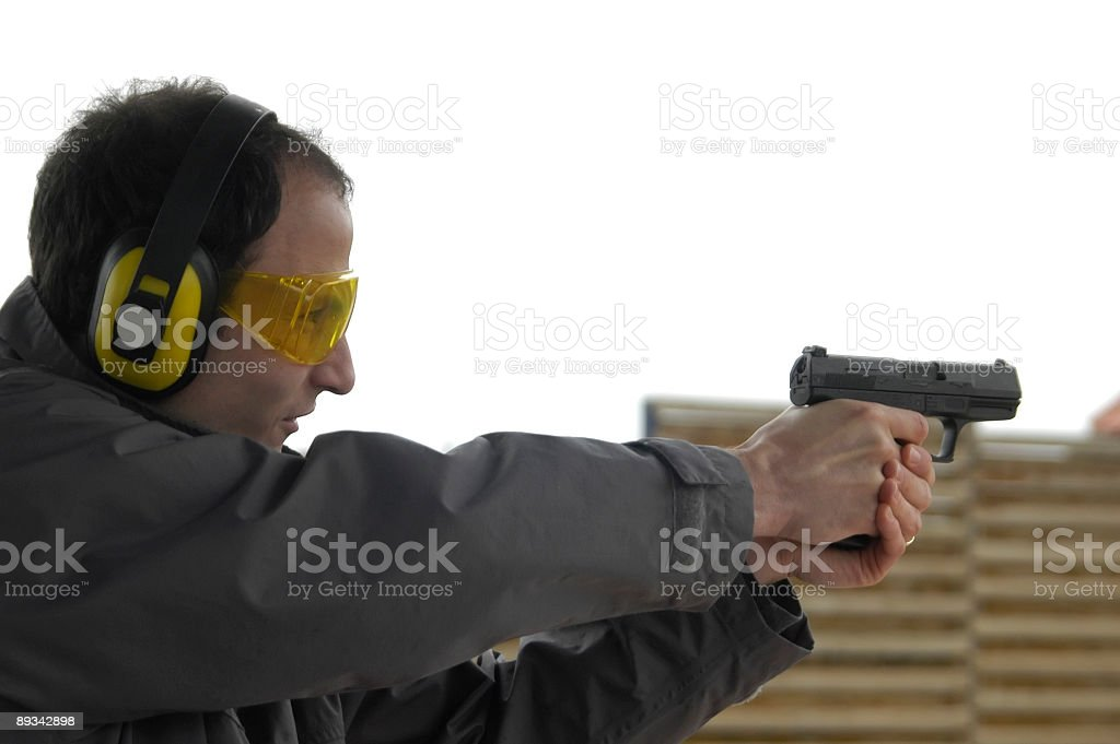 Pistol practice stock photo