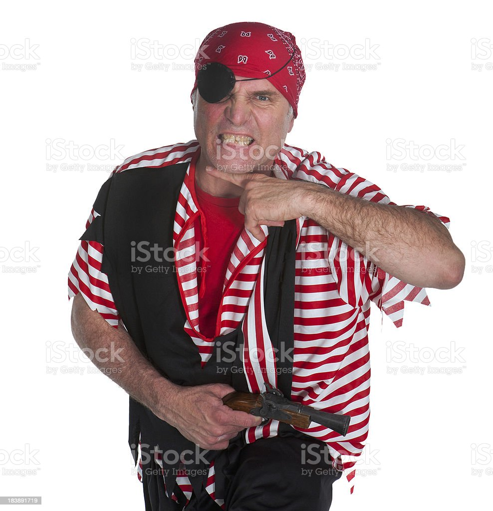 pistol toting pirate making murder gesture royalty-free stock photo
