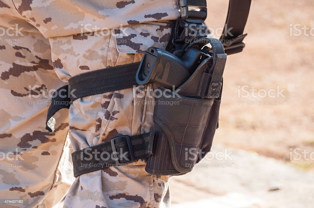 pistol with holster stock photo