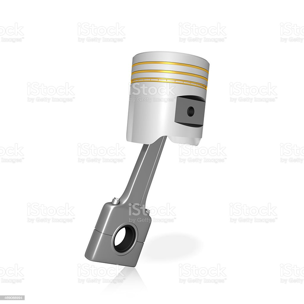 Piston and conrod on white isolated background stock photo