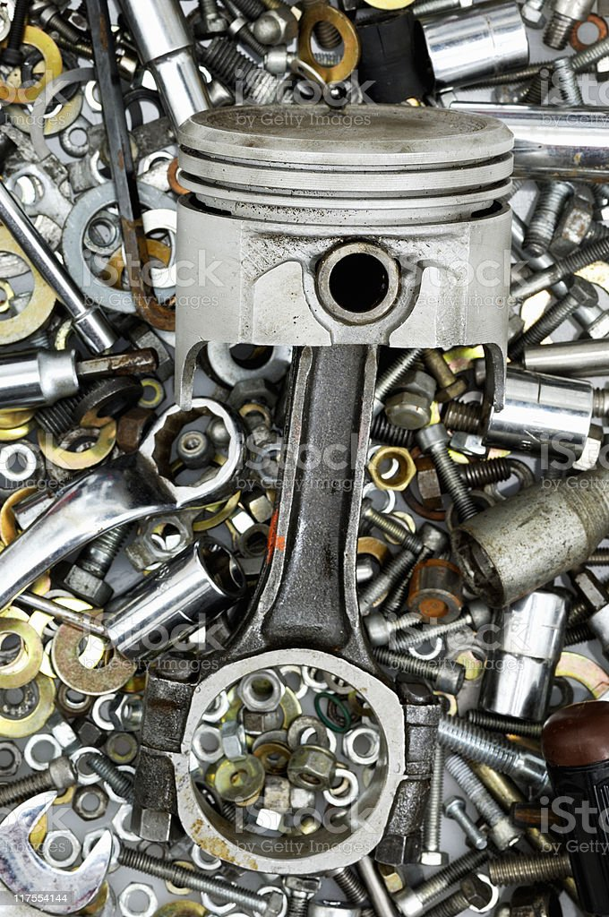 Piston, nuts and bolts royalty-free stock photo