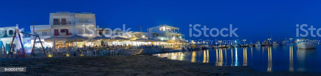 Pisw Livadi local village at night at Paros. stock photo