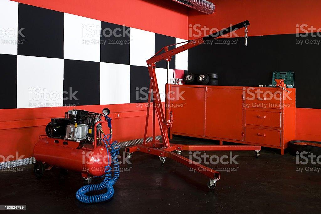 Pit lane garage stock photo