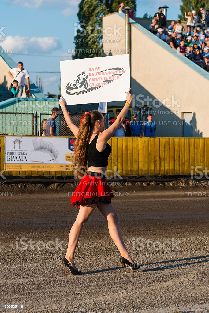 Pit lane girl during competitions stock photo