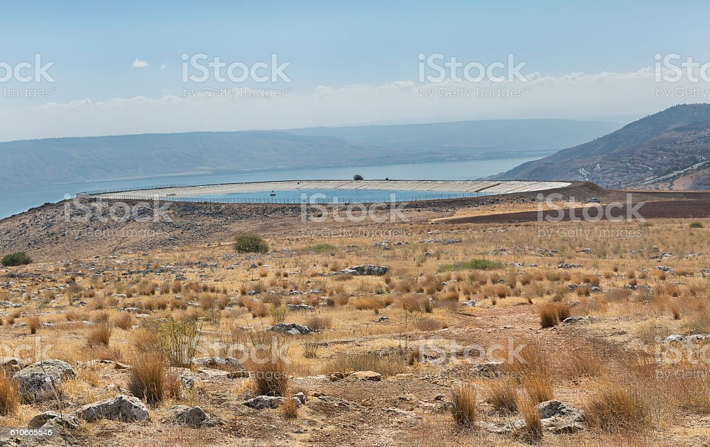 pit to collect rainwater on Mount Arbel stock photo