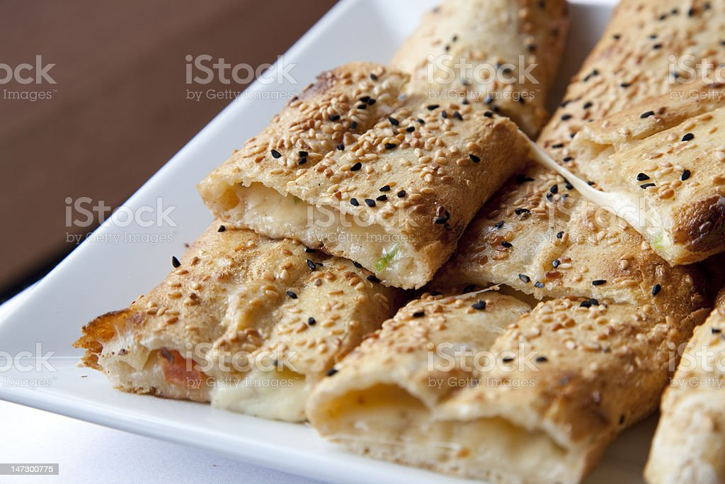 pita bread filled with cheese royalty-free stock photo