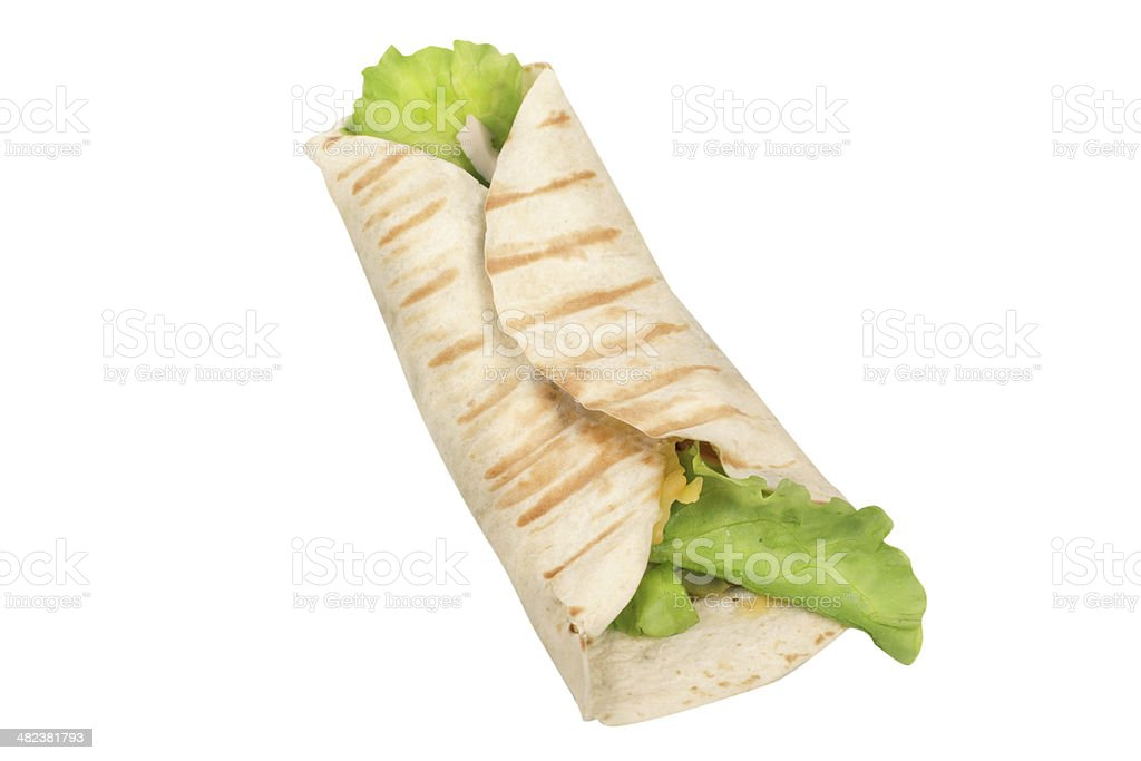 pita bread with herbs and cheese isolated on white background stock photo