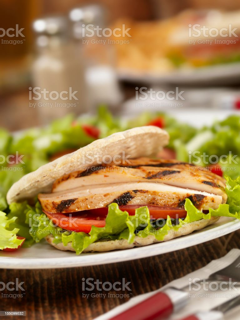 BBQ Pita Chicken Sandwich royalty-free stock photo