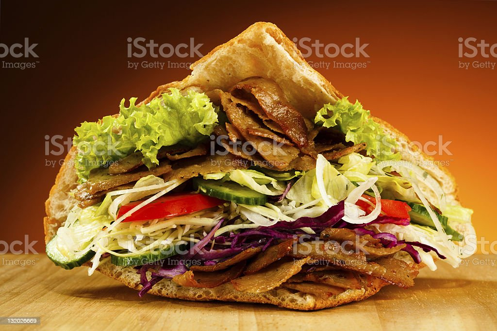 Pita - grilled meat and vegetables stock photo
