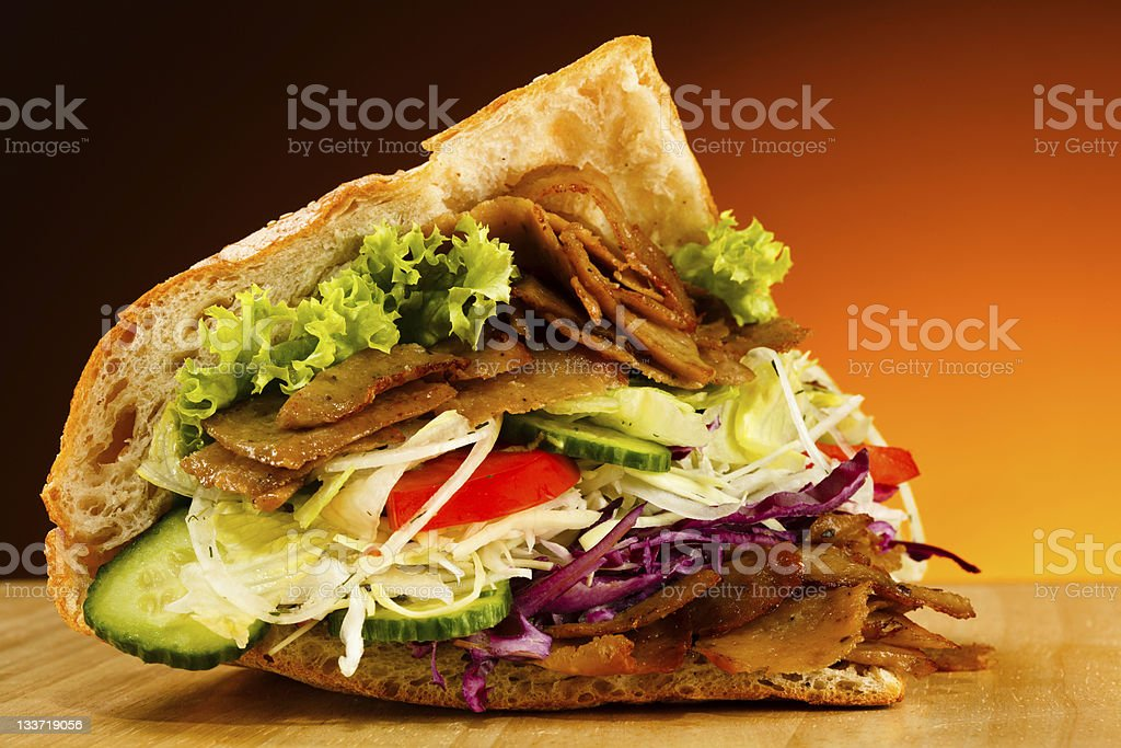 Pita - grilled meat and vegetables royalty-free stock photo