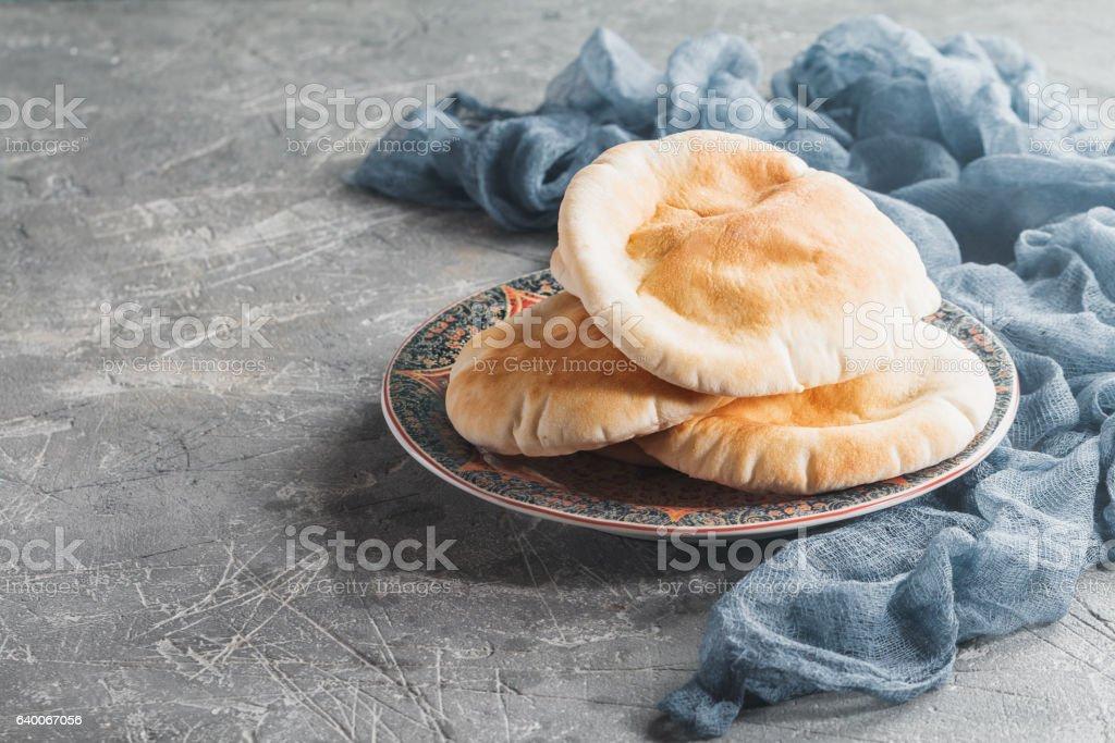 Pita or Arabic bread stock photo