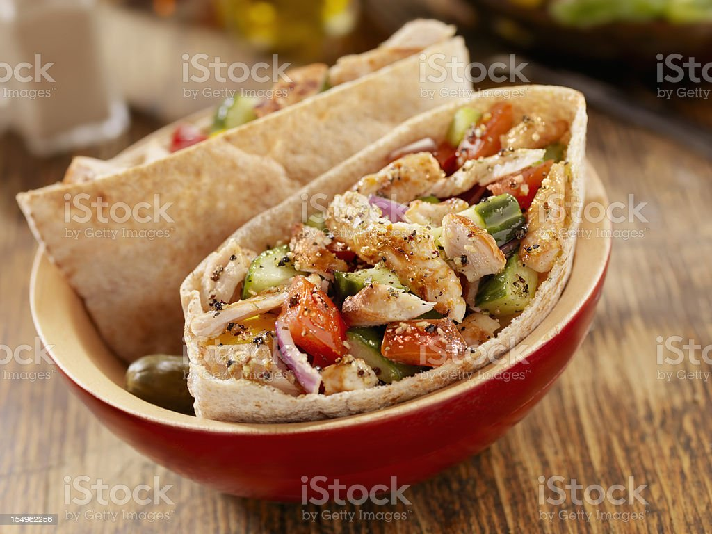 Pita Pocket with Grilled Chicken stock photo