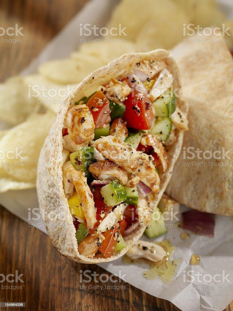 Pita Pockets with Grilled Chicken stock photo
