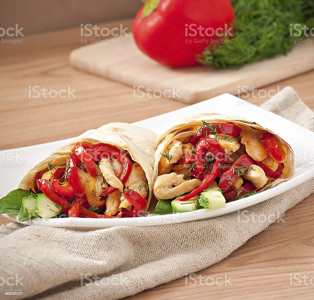 pita stuffed with chicken and peppers stock photo