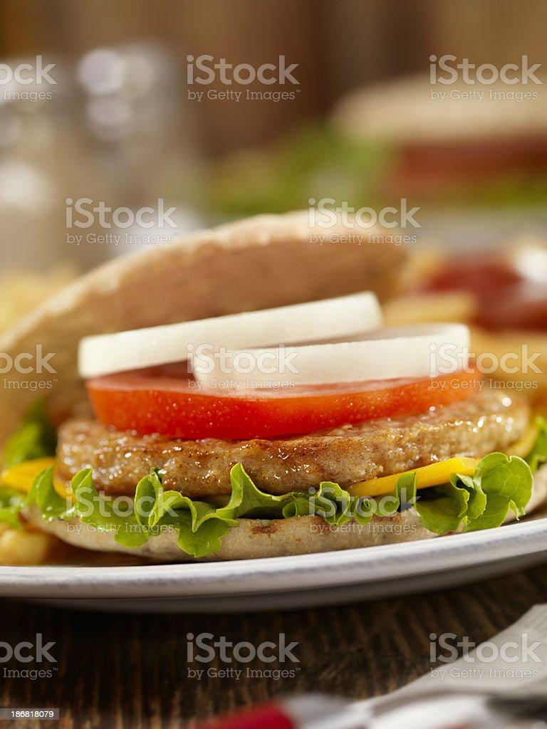 Pita Turkey Burger stock photo