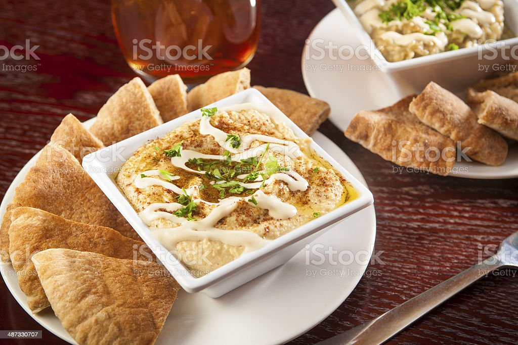 Pitas with hummus! Pitas with baba ghanoush, baba ganouj, baba ghanush stock photo