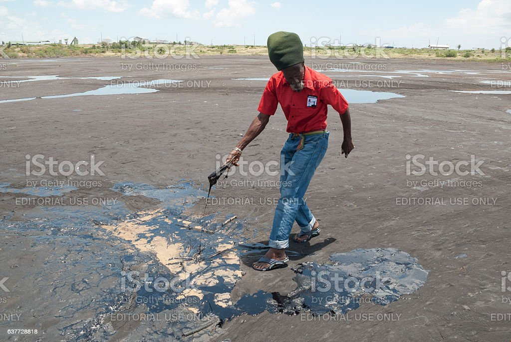 Pitch Lake, Trinidad stock photo