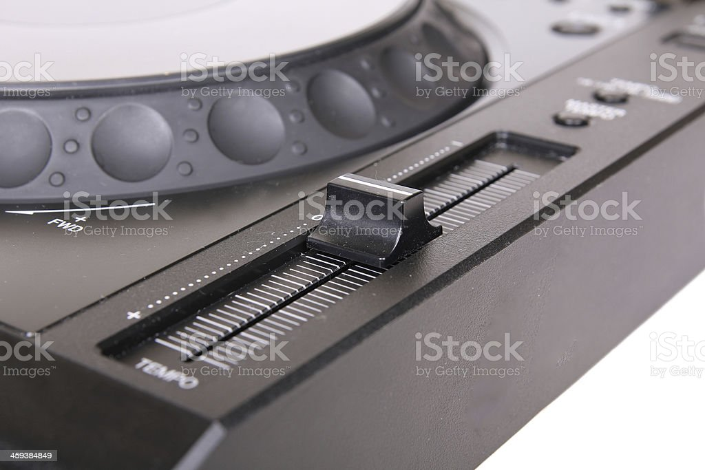 Pitch on Dj cd player stock photo