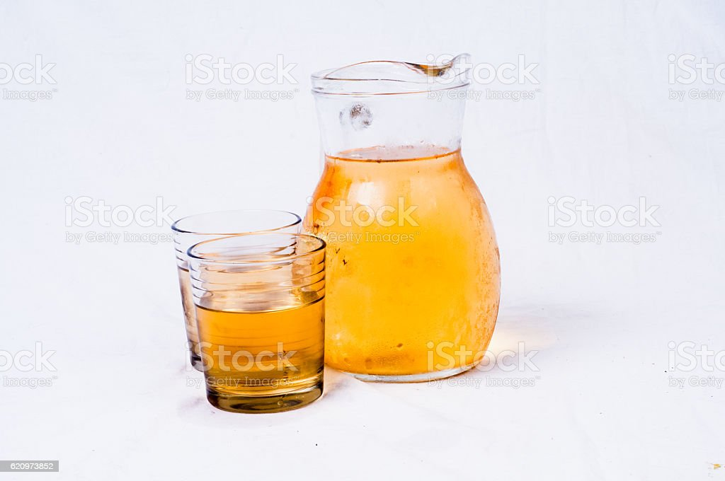 Pitcher and glass of white wine stock photo