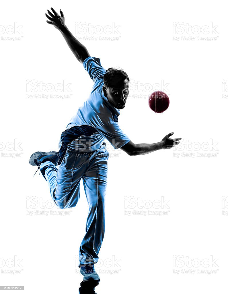pitcher Cricket player  silhouette stock photo