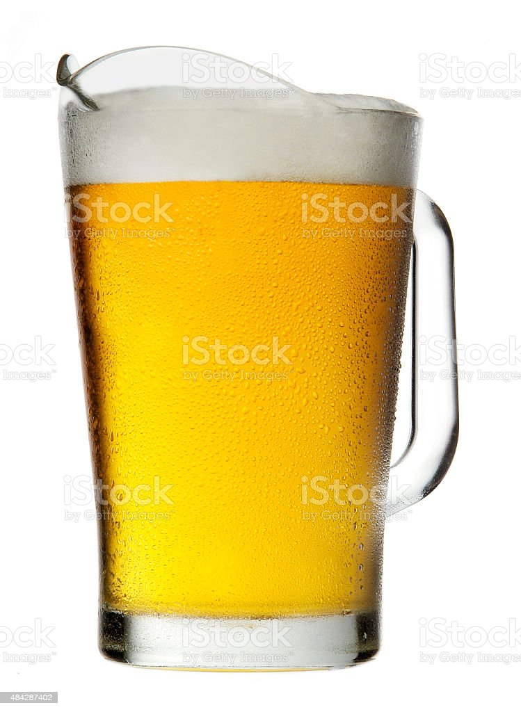 Pitcher of Beer with Foam stock photo