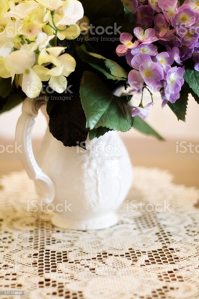 Pitcher of hydrangea royalty-free stock photo