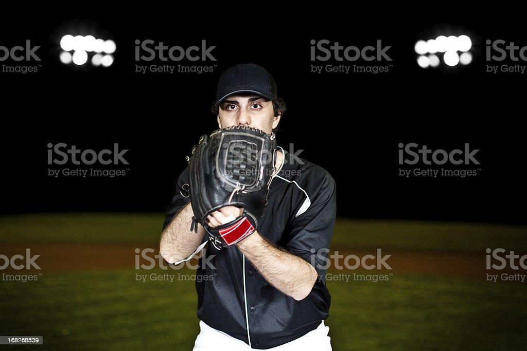 Pitcher (baseball action shot) on mound royalty-free stock photo