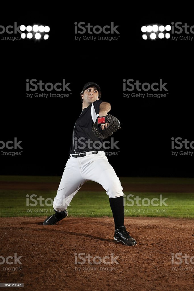 Pitcher (baseball action shot) on mound stock photo