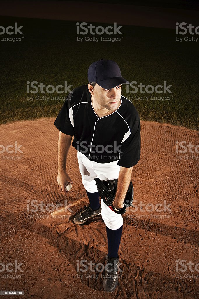 Pitcher (baseball action shot) on mound royalty-free stock photo