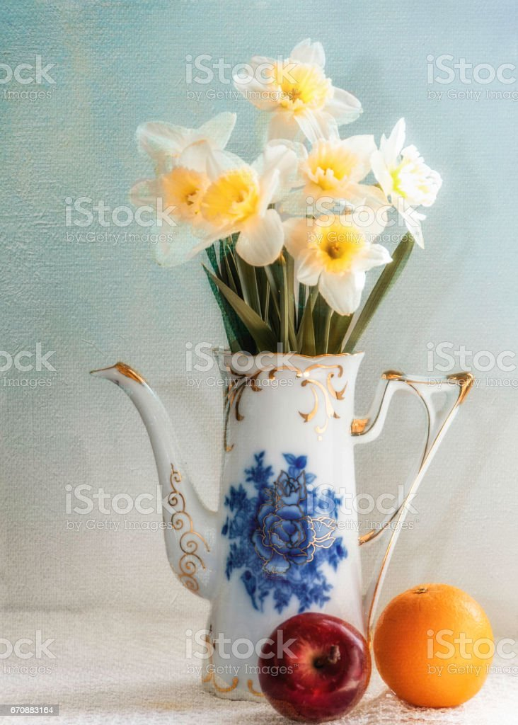 Pitcher with Daffodils stock photo
