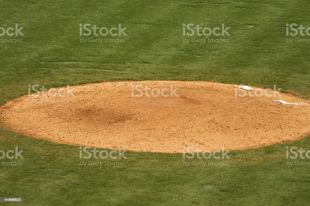 Pitcher's Mound on a Baseball Field at a Baseball Game stock photo