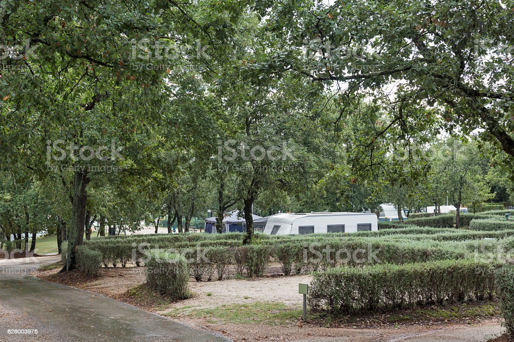 Pitches for camping with trailers in Istria, Croatia. stock photo