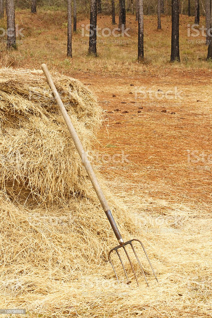 Pitchfork Against Haystack On Farm stock photo