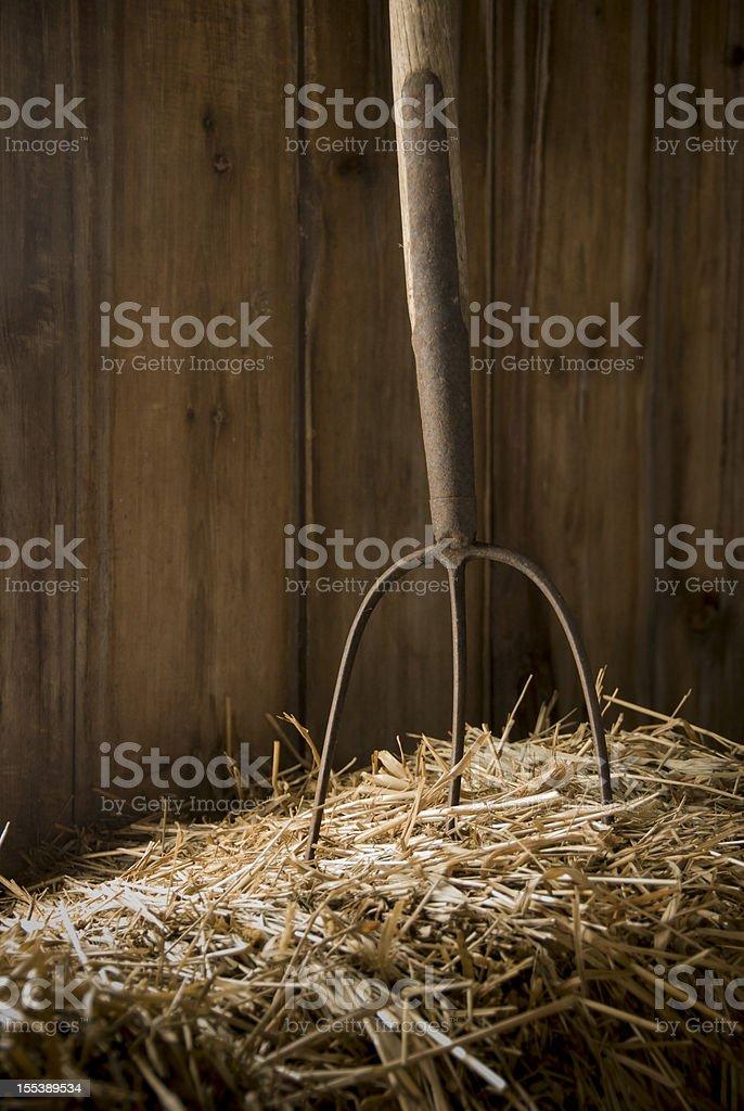 Pitchfork in Hay stock photo