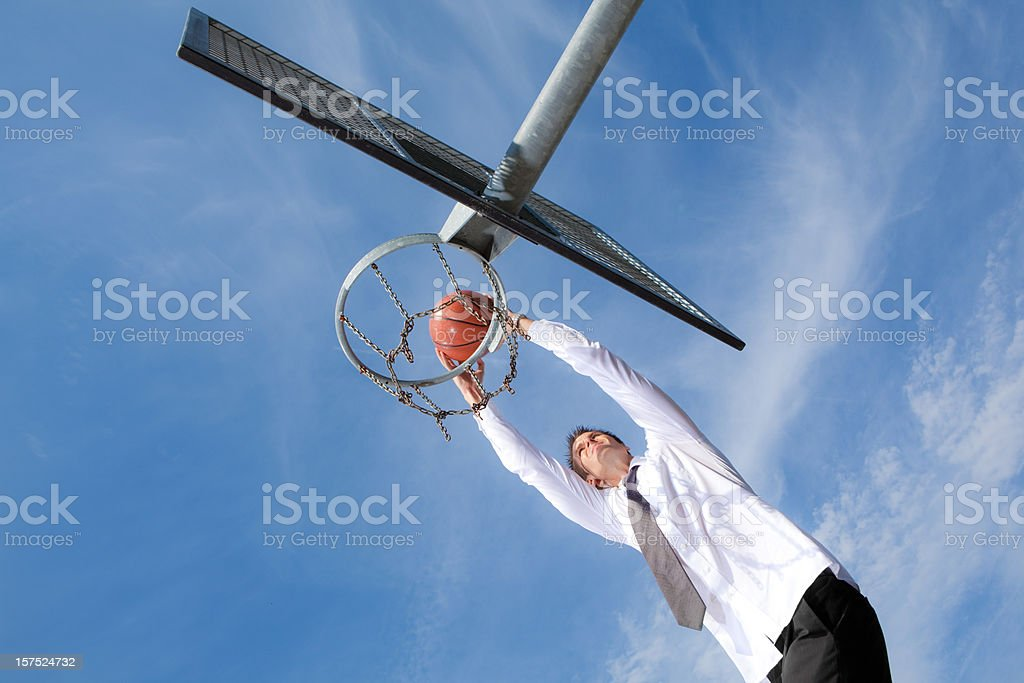 pitching a basket at blue sky royalty-free stock photo