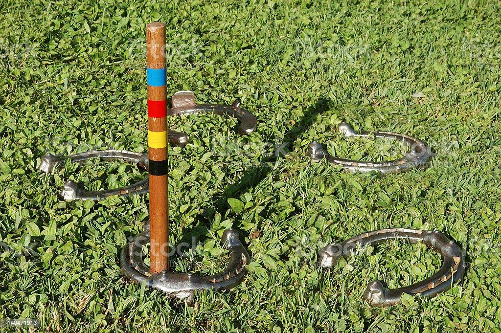 pitching horseshoes stock photo