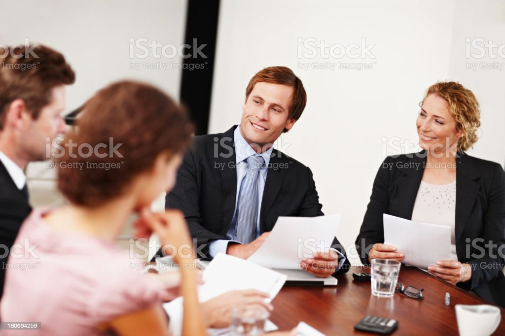 Pitching new corporate ideas royalty-free stock photo