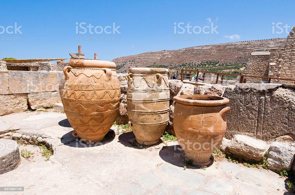 Pithoi or storage jars at the Knossos palace. Crete, Greece. stock photo