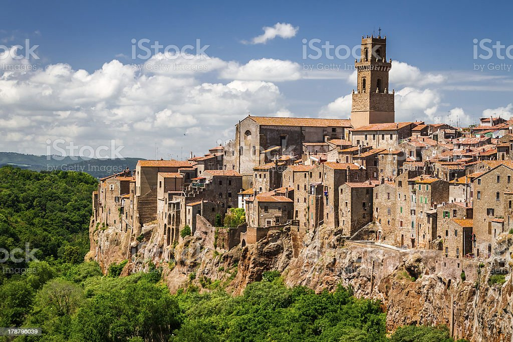 Pitigliano city on the cliff in summer, Italy stock photo