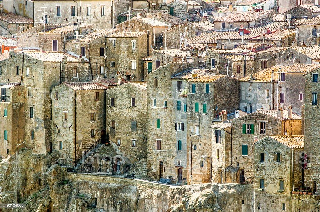Pitigliano houses closeup - Grosseto - Tuscany stock photo