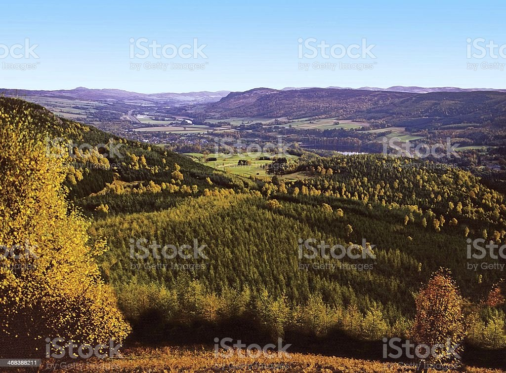 Pitlochry from Craigower Perthshire stock photo