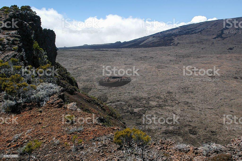 Piton de la Fournaise volcano on La Reunion island stock photo