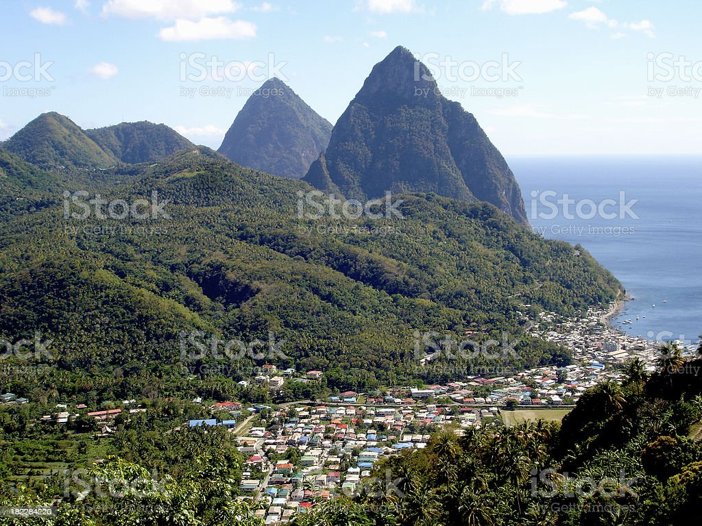 Piton mountains in St. Lucia stock photo