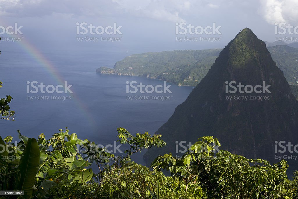 Piton view in St. Lucia. stock photo
