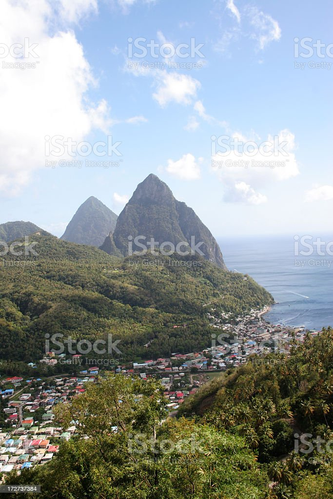 Pitons at St Lucia stock photo