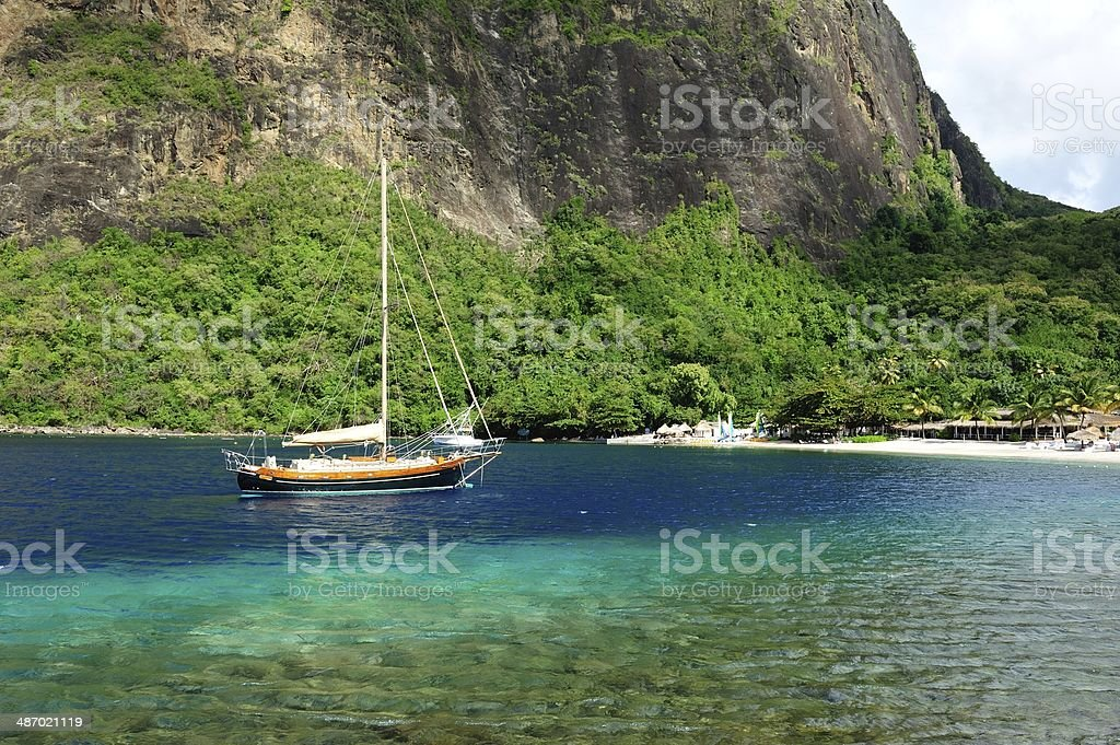 Pitons Bay St. Lucia stock photo
