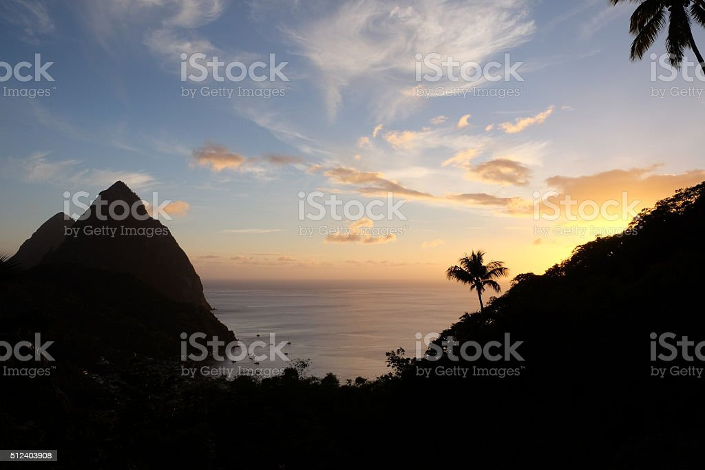 Pitons in the sunset stock photo