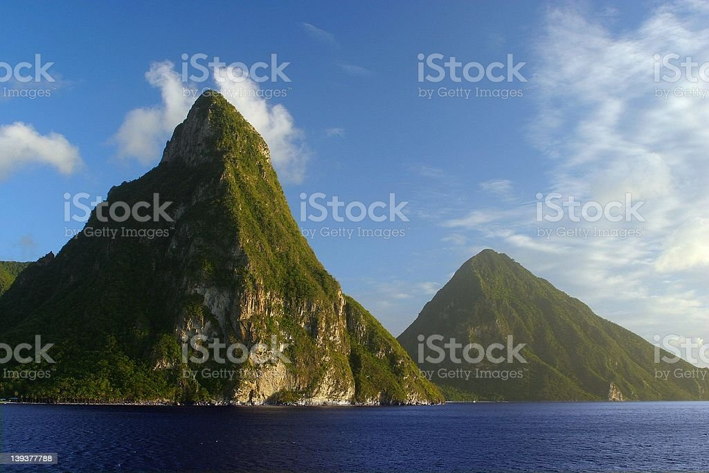 Pitons mountains stock photo